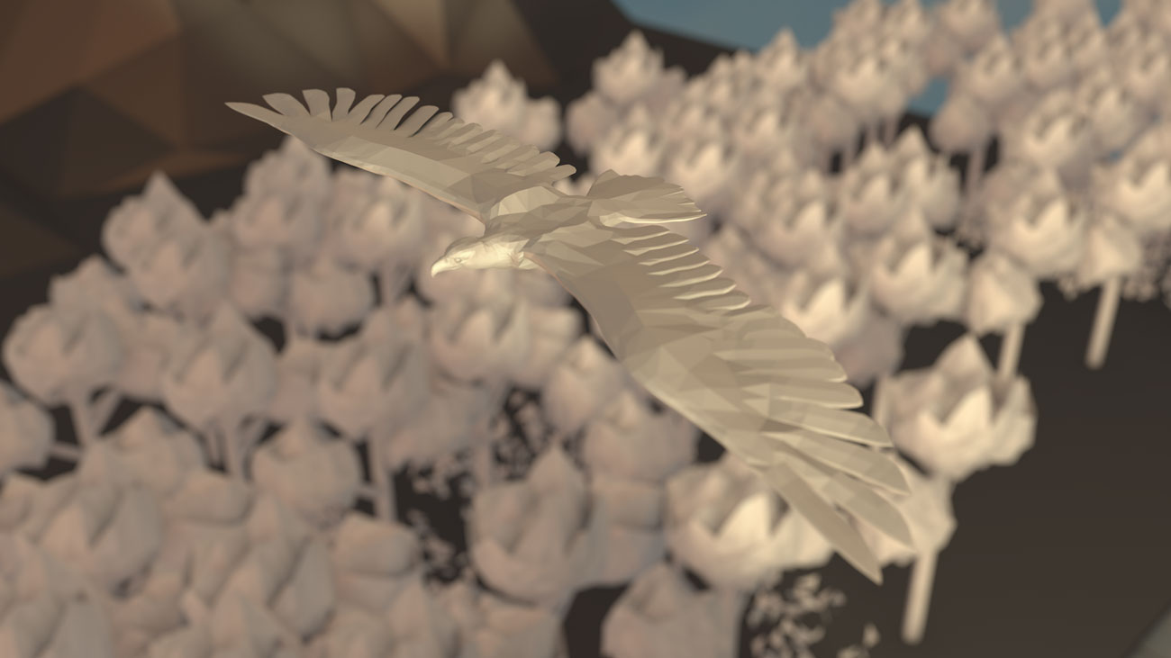3D Adler aus Papier fliegt über Papierwald