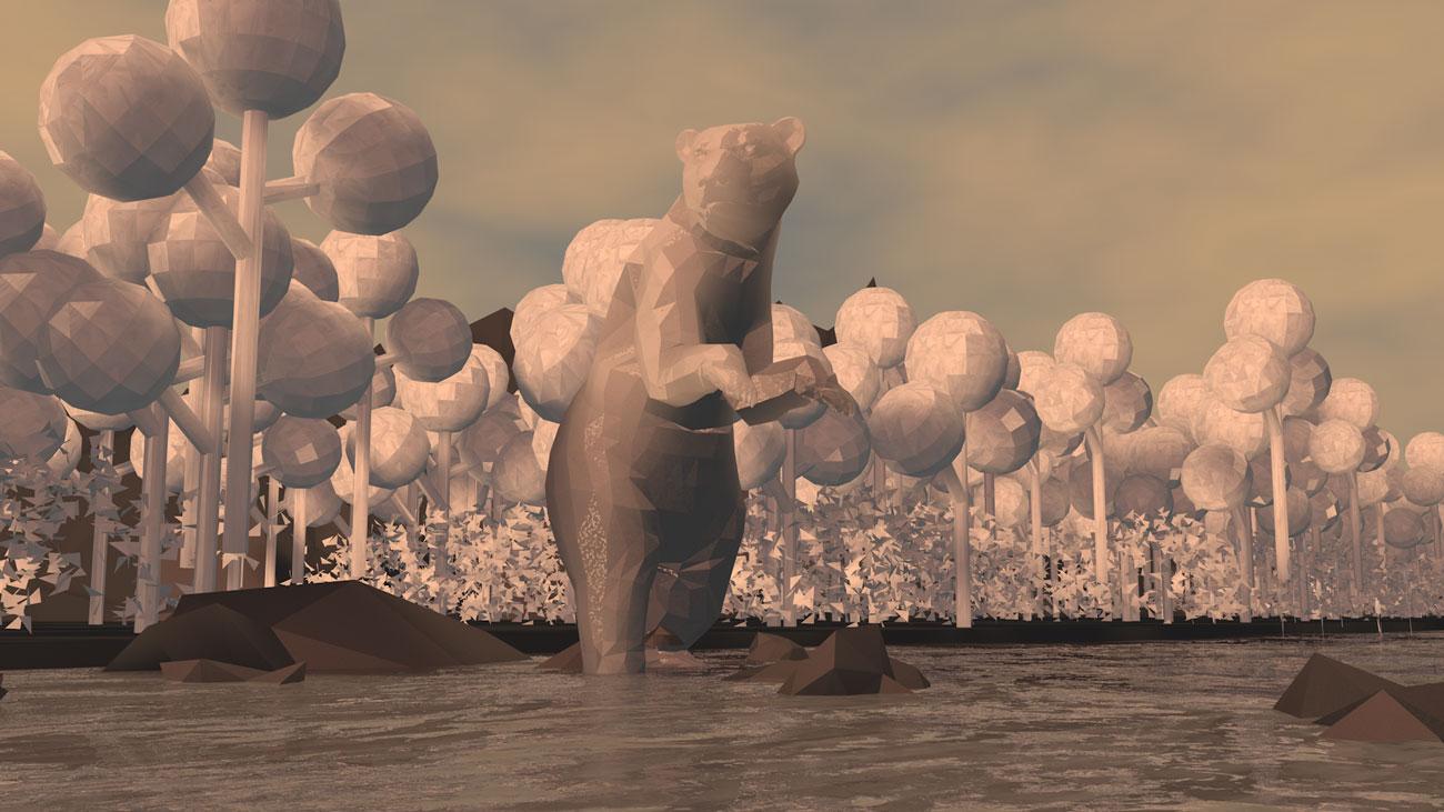 3D Bär aus Papier steht im Fluss