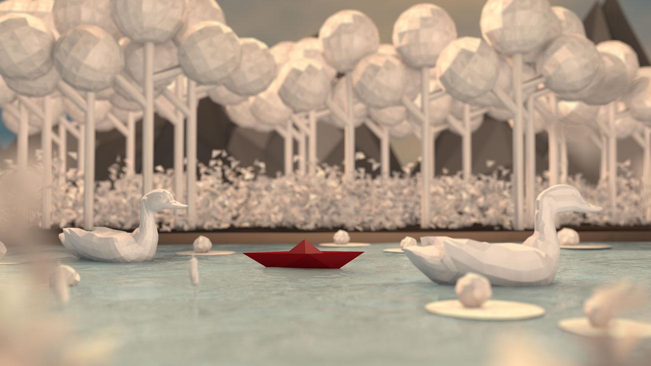 3D Papierboot fährt durch Seerosen an Enten vorbei