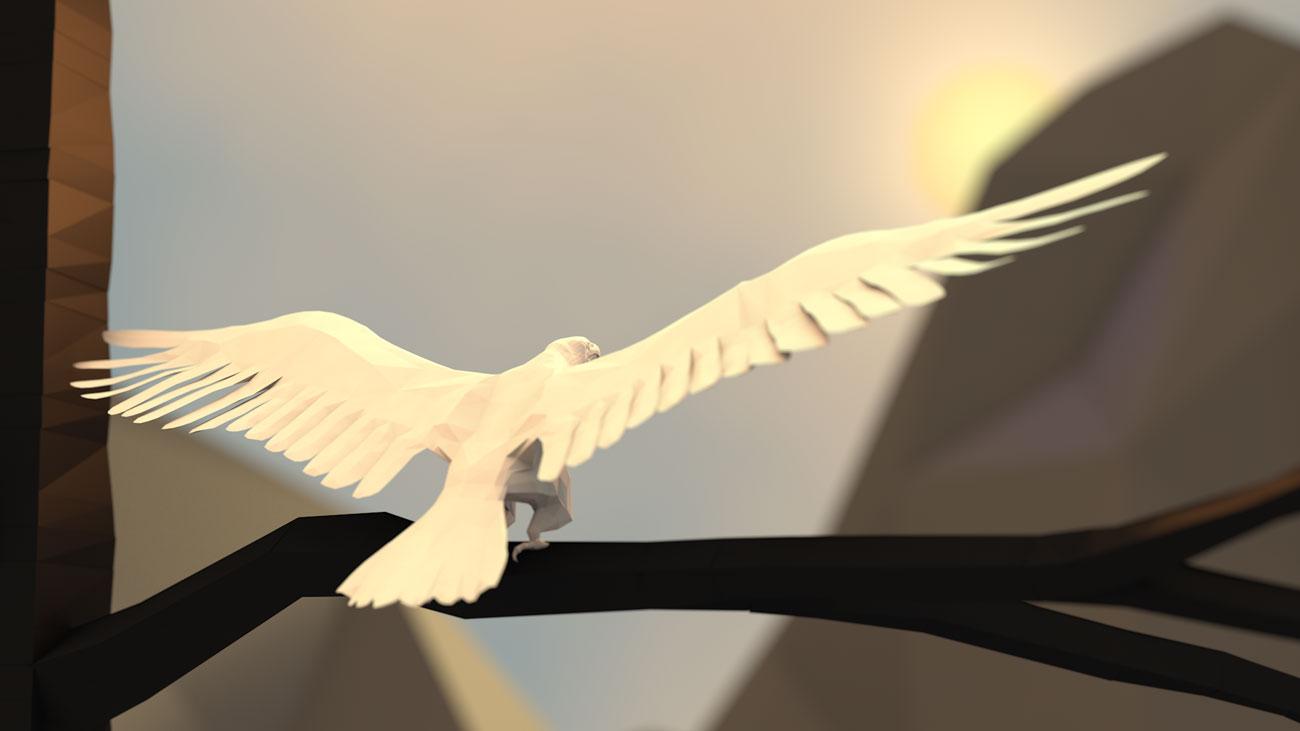 3D Adler aus Papier startet Flug vom Baum