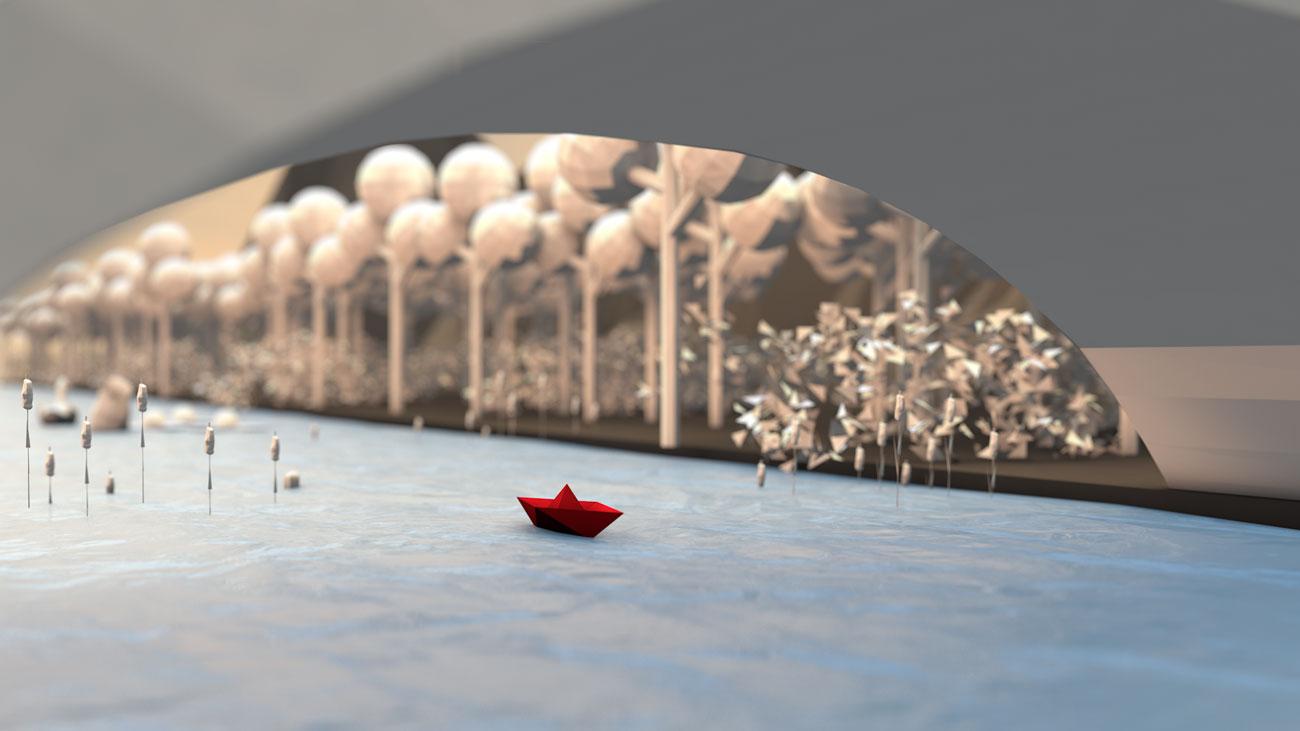 3D Papierboot fährt unter eine Brücke durch