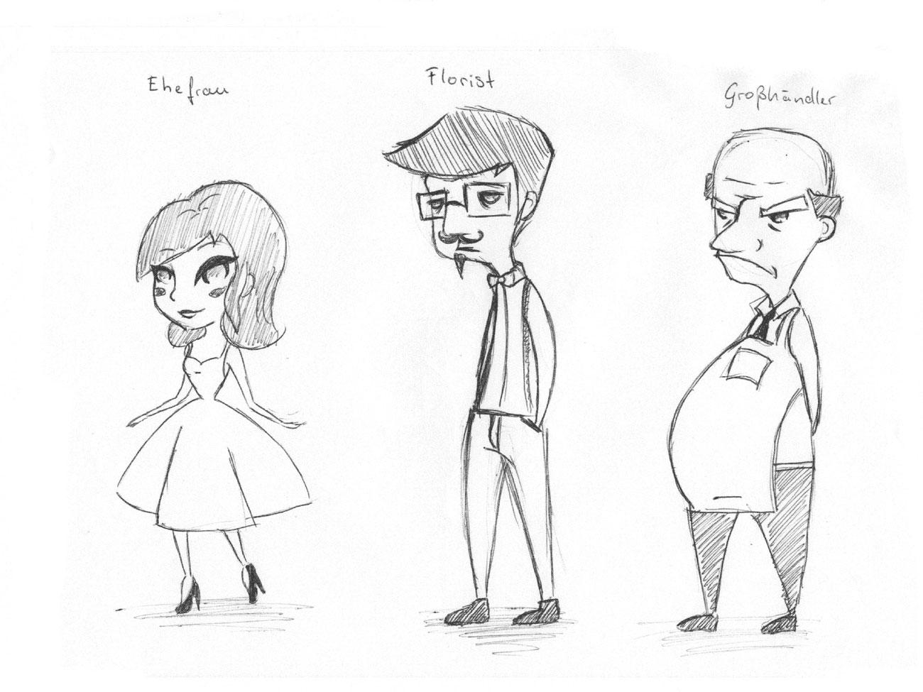 Charakterentwurf Mann Frau und grumpiger Mann
