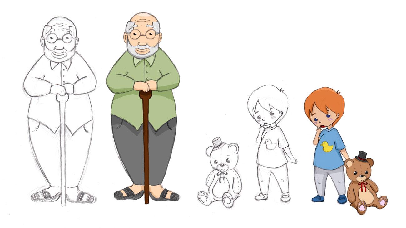 BZgA Charakterdesign Opa und Kind