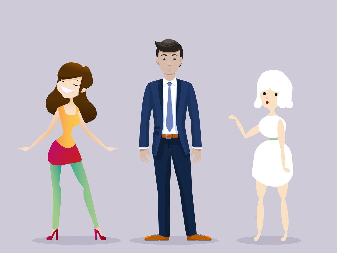 Charakterdesign Frau, Mann und Frau Holle
