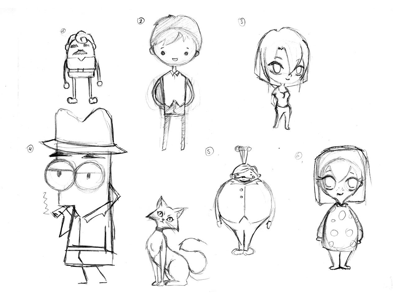 Charakterdesign Entwurf diverser Charaktere