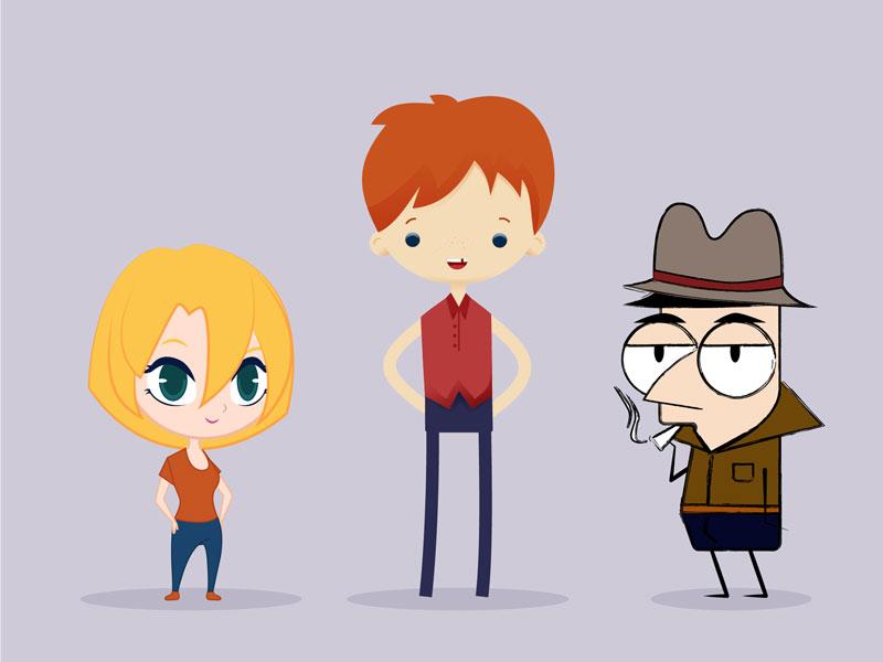 Charakterdesign Junge Mädchen und Detektiv