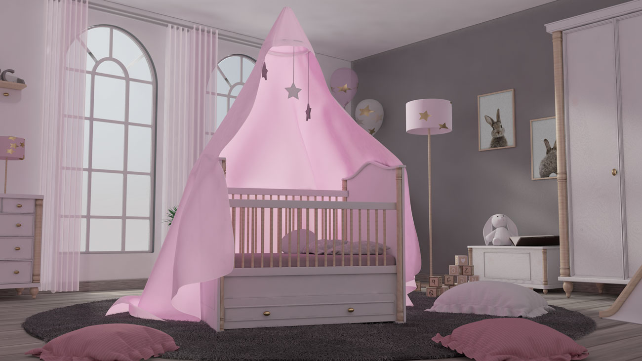 3D Kinderbett mit Mobile