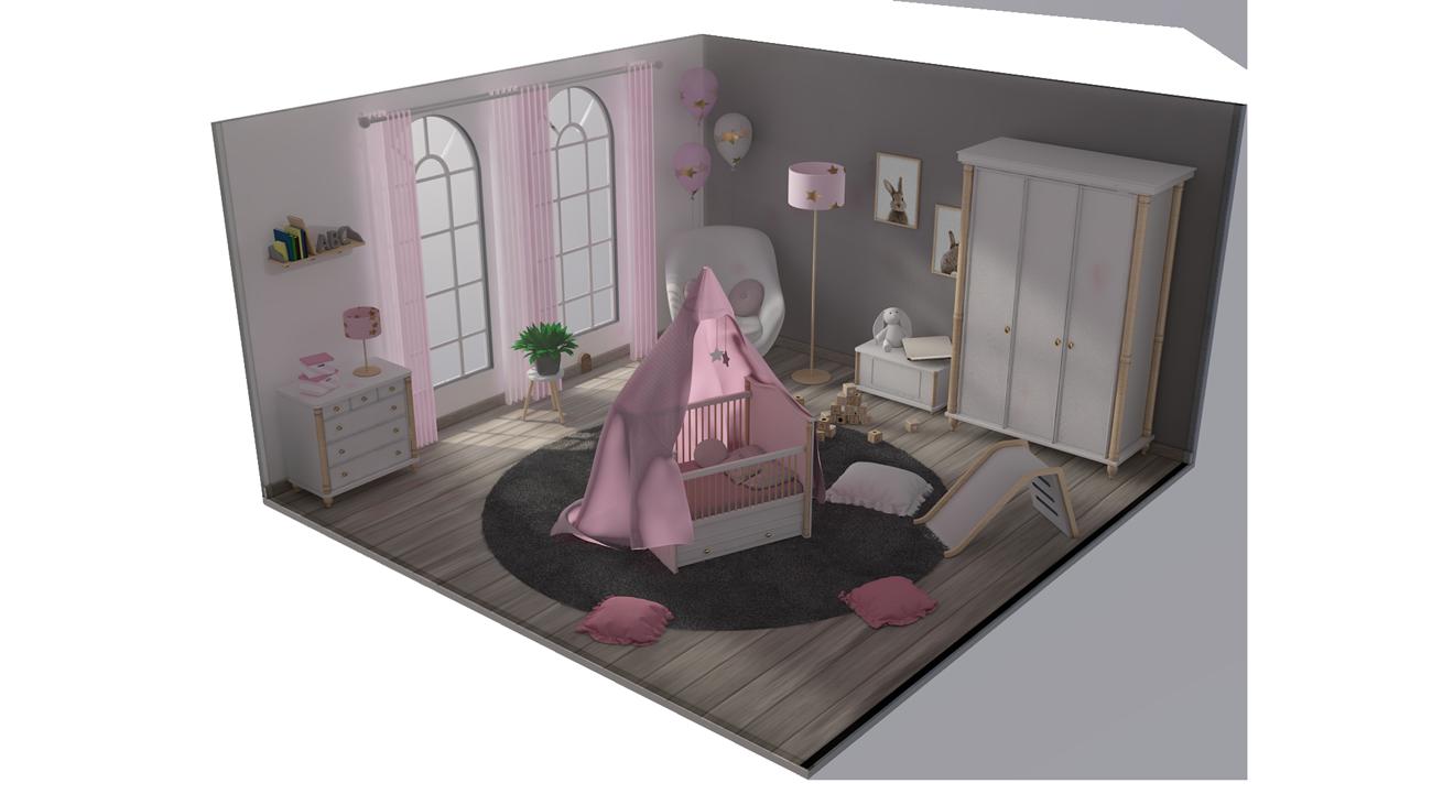 3D Kinderzimmer Isometrie