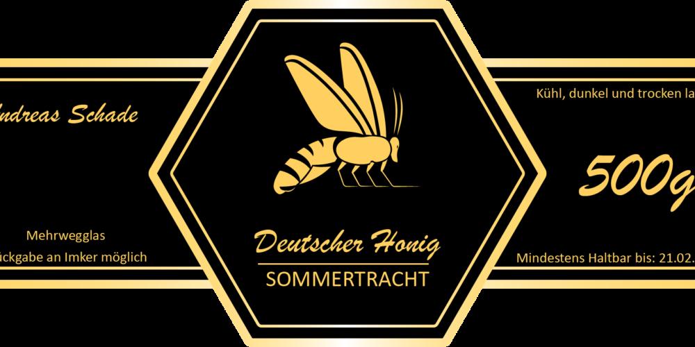 3D Honig Etikett Wabe schwarz