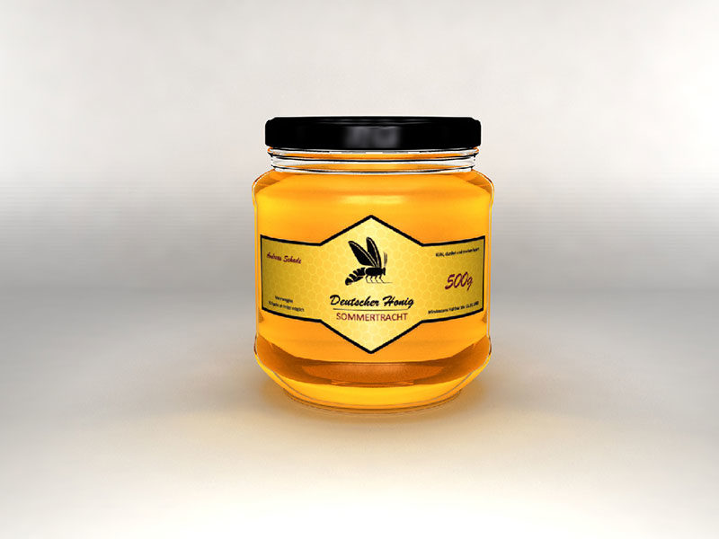 3D Honig Glas Raute Gold