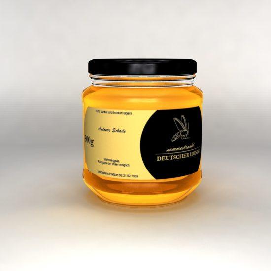 3D Honig Glas Langes Etikett