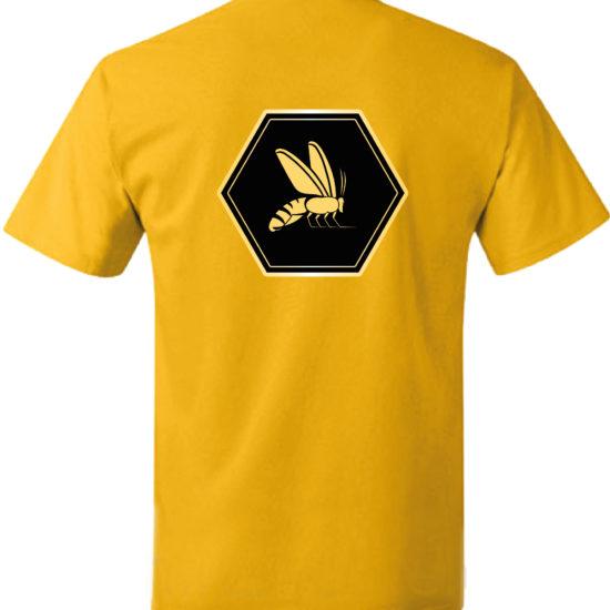 Shirt gold Ruecken mit Logo